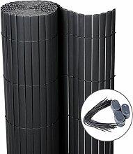 WOLTU GZZ1185gr5 Sichtschutzmatte PVC Sichtschutzzaun , Sichtschutz Windschutz für Balkon Garten Markise Zaun , Grau , 160 x 400 cm (Höhe x Länge)