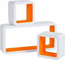 WOLTU RG9229or Wandregal Cube Regal 3er Set Bücherregal Regalsysteme, Retro Hängeregal Würfel, weiß-orange