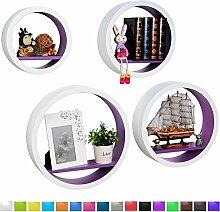WOLTU RG9231dla Wandregal Schweberegale, 4er Set Rund Regal, Retro Bücherregal, MDF Holz, DIY zum Hängen, weiß-lila
