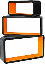 WOLTU RG9270or 3er Set Wandregal Cube CD DVD Regal Lounge Würfel Rechteckig, außen schwarz Lackiert, orange
