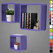 WOLTU RG9282la Wandregal Schweberegale, 3er Set Lounge Cube Regal, Retro Bücherregal, MDF Holz, DIY zum Hängen, Lila
