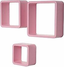WOLTU RG9282rs Wandregal Cube Würfel CD DVD Regal Dekoregal kleines Holzregal, 3er Set Retro Hängeregal, rosa