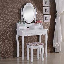 WOLTU Schminktisch Kosmetiktisch Frisiertisch mit Spiegel und Hocker 4 Schubladen MDF und massives Kiefernholz Weiß 75 x 146 x 40cm(B x H x T) MB6023cm