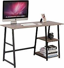 Schreibtisch Computertisch Bürotisch Tisch mit 2 Ablage Holz Stahl TSG25hei
