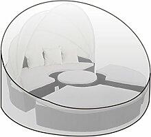 WOLTU Schutzhülle Schutzhaube Abdeckplane Abdeckhaube für Gartenmöbel Sonneinsel Liege Hülle Haube Transparent 200x200x136cm GZ1168tp