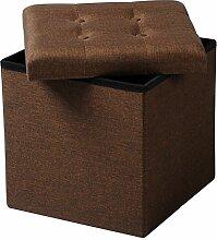 WOLTU® SH06br-1-c Faltbarer Sitzwürfel Sitzhocker Sitzbank, Truhen, kinder Aufbewahrungsbox, 37,5 x 37,5 x 38 CM, aus Leinen und MDF(Klasse E1), bis 300KG belastbar, Braun