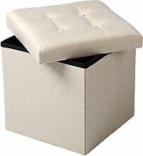 WOLTU® SH06cm-1-c Faltbarer Sitzwürfel Sitzhocker Sitzbank, Truhen, kinder Aufbewahrungsbox, 37,5 x 37,5 x 38 CM, aus Leinen und MDF(Klasse E1), bis 300KG belastbar, Cremeweiß