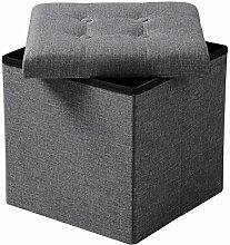 WOLTU® SH06dgr-1-c Faltbarer Sitzwürfel Sitzhocker Sitzbank, Truhen, kinder Aufbewahrungsbox, 37,5 x 37,5 x 38 CM, aus Leinen und MDF(Klasse E1), bis 300KG belastbar, Dunkelgrau