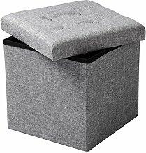 WOLTU® SH06hgr-1-c Faltbarer Sitzwürfel Sitzhocker Sitzbank, Truhen, kinder Aufbewahrungsbox, 37,5 x 37,5 x 38 CM, aus Leinen und MDF(Klasse E1), bis 300KG belastbar, Hellgrau