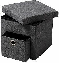 WOLTU® SH07dgr-1-c Faltbarer Sitzwürfel Sitzhocker Sitzbank, Truhen, kinder Aufbewahrungsbox, 1 Schublade, 37,5 x 37,5 x 38 CM, aus Leinen und MDF(Klasse E1), bis 300KG belastbar, Dunkelgrau