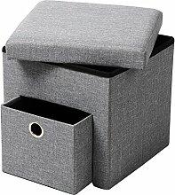 WOLTU® SH07hgr-1-c Faltbarer Sitzwürfel Sitzhocker Sitzbank, Truhen, kinder Aufbewahrungsbox, 1 Schublade, 37,5 x 37,5 x 38 CM, aus Leinen und MDF(Klasse E1), bis 300KG belastbar, Hellgrau