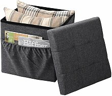 WOLTU® SH12dgr-1-c Faltbarer Sitzwürfel Sitzhocker Sitzbank, Truhen, kinder Aufbewahrungsbox, mit Seitentasche, 37,5 x 37,5 x 38 CM, aus Leinen und MDF(Klasse E1), bis 300KG belastbar, Dunkelgrau