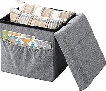 WOLTU® SH12hgr-1-c Faltbarer Sitzwürfel Sitzhocker Sitzbank, Truhen, kinder Aufbewahrungsbox, mit Seitentasche, 37,5 x 37,5 x 38 CM, aus Leinen und MDF(Klasse E1), bis 300KG belastbar, Hellgrau