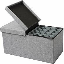 WOLTU® Sitzhocker mit Stauraum Sitzbank faltbar Truhen Aufbewahrungsbox, mit Aufbewahrungskorb, Deckel abnehmbar, Gepolsterte Sitzfläche aus Leinen, 76x37,5x38 CM, Hellgrau, SH14hgr-1