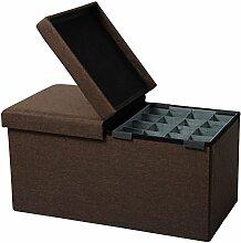 WOLTU® Sitzhocker mit Stauraum Sitzbank faltbar Truhen Aufbewahrungsbox, mit Aufbewahrungskorb, Deckel abnehmbar, Gepolsterte Sitzfläche aus Leinen, 76x37,5x38 CM, Braun, SH14br-1