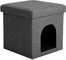 WOLTU Sitzhocker mit Stauraum Sitzwürfel Sitzbank faltbar Truhen Aufbewahrungsbox Hundebox Tierhöhle, Deckel abnehmbar, Gepolsterte Sitzfläche aus Leinen, 37,5x37,5x38CM(LxBxH), Dunkelgrau, SH13dgr-1