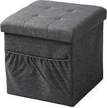 WOLTU® Sitzhocker mit Stauraum Sitzwürfel Sitzbank faltbar Truhen Aufbewahrungsbox, mit Seitentasche, Deckel abnehmbar, Gepolsterte Sitzfläche aus Leinen, 37,5x37,5x38CM(LxBxH), Dunkelgrau, SH12dgr-1
