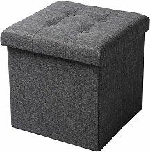 WOLTU Sitzhocker mit Stauraum Sitzwürfel Sitzbank faltbar Truhen Aufbewahrungsbox, Deckel abnehmbar, Gepolsterte Sitzfläche aus Leinen, 37,5x37,5x38CM(LxBxH), Dunkelgrau, SH06dgr-1