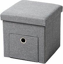 WOLTU Sitzhocker mit Stauraum Sitzwürfel Sitzbank faltbar Truhen Aufbewahrungsbox, 1 Schublade, Deckel abnehmbar, Gepolsterte Sitzfläche aus Leinen, 37,5x37,5x38CM(LxBxH), Hellgrau, SH07hgr-1