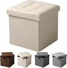 WOLTU® Sitzhocker mit Stauraum Sitzwürfel Sitzbank faltbar Truhen Aufbewahrungsbox, Deckel abnehmbar, Gepolsterte Sitzfläche aus Leinen, 37,5x37,5x38CM(LxBxH), Cremeweiß, SH06cm-1