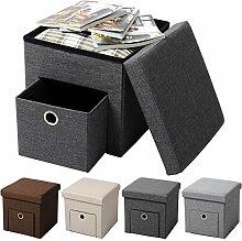 WOLTU® Sitzhocker mit Stauraum Sitzwürfel Sitzbank faltbar Truhen Aufbewahrungsbox, 1 Schublade, Deckel abnehmbar, Gepolsterte Sitzfläche aus Leinen, 37,5x37,5x38CM(LxBxH), Dunkelgrau, SH07dgr-1