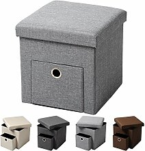 WOLTU® Sitzhocker mit Stauraum Sitzwürfel Sitzbank faltbar Truhen Aufbewahrungsbox, 1 Schublade, Deckel abnehmbar, Gepolsterte Sitzfläche aus Leinen, 37,5x37,5x38CM(LxBxH), Hellgrau, SH07hgr-1