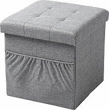 WOLTU Sitzhocker mit Stauraum Sitzwürfel Sitzbank faltbar Truhen Aufbewahrungsbox, mit Seitentasche, Deckel abnehmbar, Gepolsterte Sitzfläche aus Leinen, 37,5x37,5x38CM(LxBxH), Hellgrau, SH12hgr-1