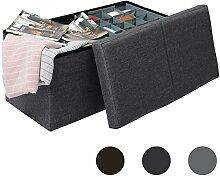 WOLTU® Sitzhocker Sitzbank SH14dgr-1-a Aufbewahrungsbox mit Aufbewahrungskorb und abnehmbarem Deckel, faltbar, dicke Polsterung aus Leinen, MDF(Klasse E1), bis 300KG belastbar, Dunkelgrau