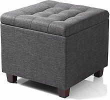 WOLTU Sitzhocker Sitzwürfel mit Stauraum, Aufbewahrungsbox Truhen, Deckel Abnehmbar, Gepolsterte Sitzfläche aus Leinen, 45*45*41CM, Dunkelgrau SH18dgr