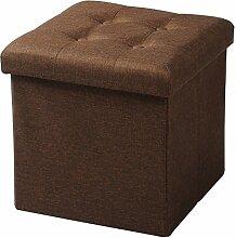 WOLTU® Sitzhocker Sitzwürfel Sitzbank SH06br-1-a Aufbewahrungsbox mit abnehmbarem Deckel, faltbar, dicke Polsterung aus Leinen, MDF(Klasse E1), bis 300KG belastbar, Braun