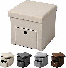 WOLTU® Sitzhocker Sitzwürfel Sitzbank SH07cm-1-a Aufbewahrungsbox mit abnehmbarem Deckel, 1 Schublade, faltbar, dicke Polsterung aus Leinen, MDF(Klasse E1), bis 300KG belastbar, Cremeweiß
