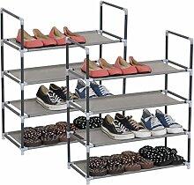 WOLTU® SR0007-2 2er Set Schuhregal Schuhablage Schuhständer Steckregal , Stoffregal Schuhschrank für bis zu 12 Paare Schuhe , schmal klein