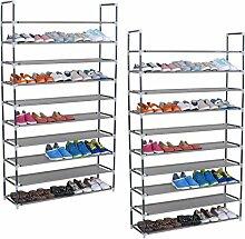 WOLTU® SR0008-2 2er Set Schuhregal Schuhablage Schuhständer Steckregal , XXL Stoffregal Schuhschrank für bis zu 50 Paare Schuhe , 100x29x175 cm , Grau