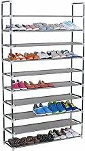 WOLTU® SR0008 Schuhregal Schuhablage Schuhständer Steckregal , XXL 10 Ebene Stoffregal Schuhschrank für 50 Paare Schuhe , Grau (100x29x175 cm)