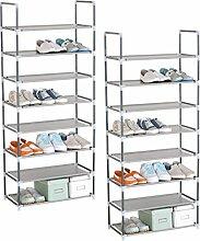 WOLTU® SR0009-2 2er Set Schuhregal Schuhablage Schuhständer Steckregal , Stoffregal Schuhschrank für bis zu 24 Paare Schuhe , schmal klein , 59,5x28,5 x140 cm , Grau