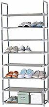 WOLTU® SR0009-a Schuhregal Schuhablage Schuhständer Steckregal , XXL Stoffregal Schuhschrank , 10 Schichte für 24 Paare Schuhe , 60x29x140 cm , Grau
