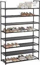 WOLTU® SR0030sz-1 Schuhregal Schuhständer SchuhablageSteckregal , XXL Stoffregal Schuhschrank , 8 Schichte für bis zu 32 Paare Schuhe , 87x29x141cm , Schwarz