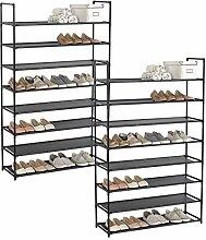 WOLTU® SR0030sz-2 2 x Schuhregal Schuhständer Schuhablage Steckregal , XXL Stoffregal Schuhschrank für 32 Paare Schuhe , Schwarz (87x29x141cm)