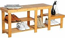 WOLTU SR0058 Schuhregal Schuhablage Sitzbank Schuhständer Schuhe Ständer Regal aus Bambus, 112 x 45,5 x 26 cm (B x H x T)