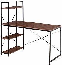 Schreibtisch Computertisch Büromöbel Arbeitstisch mit Bücherregal Weiß TSB55whe