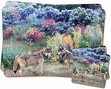 Wolves Print Twin Untersetzer und Tisch-Sets Set,