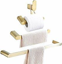 WOMAO Rostfrei Silbern 2 Teilig Set Badezimmer Accessoires Inklusiv Handtuchhalter Toilettenrollenhalter Ohne Bohren Selbstkleben Gl/änzend Chrom Oberfl/äche