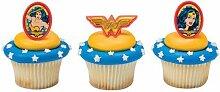 Wonder Woman Comics Cupcake Topper Rings - Set of