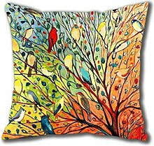 Wonder4 New Illustration Painting 16 Birds Standard Size Design Square Pillowcase/Cotton Pillowcase with Invisible Zipper in 40*40CM 16*16(527)-527157