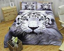 WONGS BEDDING 3D Tiger-Bettwäsche 3D Tier-Weiß