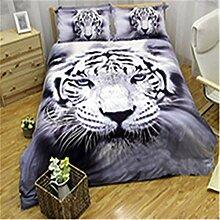 WONGS BEDDING Tiger-Bettwäsche 3D Tier-Weiß