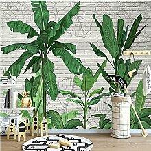 Wongxl Tropische Bananenblattbacksteinmauer In Den
