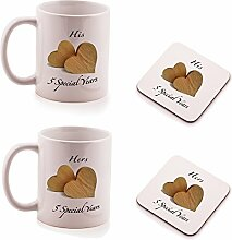 Wood 5th Wedding Anniversary His and Hers Mug and Coasters gift set - by Ukgiftbox