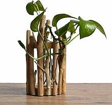 WOOD MEETS COLOR Holz Vase Handarbeit Blumentopf Tisch Vase Tube Blumenarrangement Home Dekoration