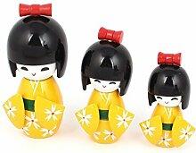 Wooden Japanese Doll Schreibtisch-Dekoration-Gelb